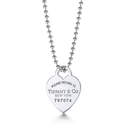 """Return to Tiffany Heart tag pendant on a 34"""" beaded chain"""